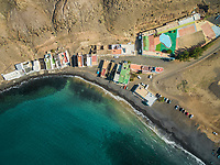 Aerial view of a vintage colorful sports playground in Pozo Negro in Fuerteventura, Canary Islands.