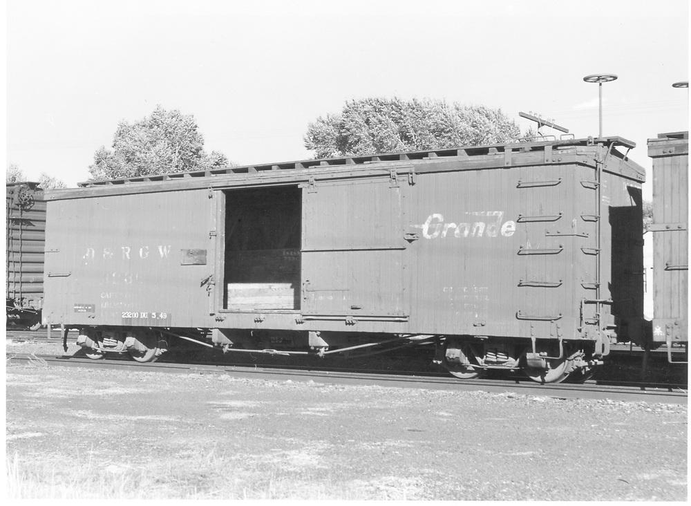 Side view of box car #3236 at La Jara.<br /> D&RGW  La Jara, CO  Taken by Richardson, Robert W. - 8/8/1949