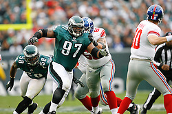 Philadelphia Eagles defensive tackle Brodrick Bunkley #97 pressures the quarterback during the NFL game between the New York Giants and the Philadelphia Eagles on November 1st 2009. The Eagles won 40 to 17 at Lincoln Financial Field in Philadelphia, Pennsylvania. (Photo By Brian Garfinkel)