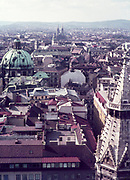 View over rooftops from Stefansdom of Vienna, Austria, early 1960s