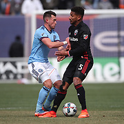 NEW YORK, NEW YORK - March 12:  Jack Harrison #11 of New York City FC is challenged by Sean Franklin #5 of D.C. United during the NYCFC Vs D.C. United regular season MLS game at Yankee Stadium on March 12, 2017 in New York City. (Photo by Tim Clayton/Corbis via Getty Images)