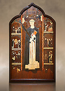 Gothic painted Altarpiece of Saint Peter Martyr by an anonymous Aragon artist. Tempera and varnished metal plate on wood. First third of 14th century. 196.5 x 121.5 x 10 cm. From Barbastre or the monastery of Santa María de Sigena (Villanueva de Sigena, Huesca).. National Museum of Catalan Art, inv no: 015820-000 .<br /> <br /> If you prefer you can also buy from our ALAMY PHOTO LIBRARY  Collection visit : https://www.alamy.com/portfolio/paul-williams-funkystock/romanesque-art-antiquities.html<br /> Type -     MNAC     - into the LOWER SEARCH WITHIN GALLERY box. Refine search by adding background colour, place, subject etc<br /> <br /> Visit our ROMANESQUE ART PHOTO COLLECTION for more   photos  to download or buy as prints https://funkystock.photoshelter.com/gallery-collection/Medieval-Romanesque-Art-Antiquities-Historic-Sites-Pictures-Images-of/C0000uYGQT94tY_Y