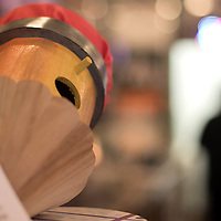 """043015      Cayla Nimmo<br /> <br /> Loisse Ledres penciled shaped birdhouse, titled """"The Write Birdhouse"""" is on display at the coffee counter in Sammy C's in downtown Gallup."""