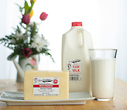 Product shot of raw milk cheese from Meadowayne Dairy in Colorado City, Arizona.<br /> Glass of milk.