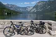 Bikes on the bridge at Ribcev Laz and out into Lake Bohinj, on 19th June, in Lake Bohinj, Sovenia