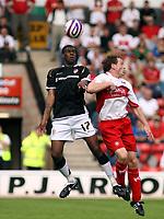 Photo: Mark Stephenson.<br /> Walsall v Port Vale. Coca Cola League 1. 08/09/2007.Port Vale's Craig Rocastle (L) heads the ball