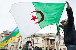 London, UK. 9th March, 2019. Algerians living in London protest in Trafalgar Square against President Abdelaziz Bouteflika's decision to run for a fifth term in April's Algerian election. Bouteflika is aged 82, is reported to have not spoken in public for seven years and had a stroke in 2013.