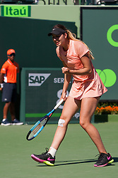 March 22, 2018 - Key Biscayne, FL, U.S. - KEY BISCAYNE, FL - MARCH 22: Oceane Dodin (FRA) in action on Day 4 of the Miami Open on March 22, 2018, at Crandon Park Tennis Center in Key Biscayne, FL. (Photo by Aaron Gilbert/Icon Sportswire) (Credit Image: © Aaron Gilbert/Icon SMI via ZUMA Press)