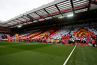 Football - 2018 / 2019 Premier League - Liverpool vs. Chelsea<br /> <br /> Liverpool fans on the Kop hold up a mosaic in memory of the victims of the Hillsborough disaster , at Anfield.<br /> <br /> COLORSPORT/PAUL GREENWOOD