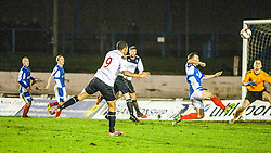Falkirk's Phil Roberts shoots high.<br /> Cowdenbeath 0 v 2 Falkirk, Scottish Championship game today at Central Park, the home ground of Cowdenbeath Football Club.<br /> © Michael Schofield.