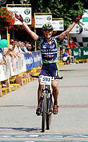 Sykkel - Mountainbike - Terrengsykkel<br /> Foto: Wrofoto/Digitalsport<br /> NORWAY ONLY<br /> <br /> SZCZAWNO ZDR 07.08.2004<br /> SKODA AUTO GRAND PRIX MTB<br /> THE LAST TRENING BEFORE OLYMPIC GAMES IN ATHENS<br /> <br /> Gunn Rita Dahle - Norge