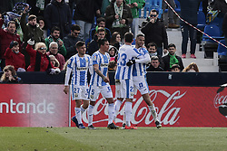 February 10, 2019 - Madrid, Madrid, Spain - CD Leganes's players celebrate goal during La Liga match between CD Leganes and Real Betis Balompie at Butarque Stadium in Madrid, Spain. February 10, 2019. (Credit Image: © A. Ware/NurPhoto via ZUMA Press)