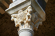 Picture and image of the Tuscan Romanesque Pisan style basilica of Santissima Trinita di Saccargia, historicated pillar capitals, consecrated 1116, Codrongianos, Sardinia. .<br /> <br /> Visit our SARDINIA HISTORIC PLACXES PHOTO COLLECTIONS for more photos to download or buy as wall art prints https://funkystock.photoshelter.com/gallery-collection/Pictures-Images-of-Sardinia-Sardinia-Historical-Travel-Sites/C0000MEM.pIAwgvM <br /> .<br /> Visit our MEDIEVAL PHOTO COLLECTIONS for more   photos  to download or buy as prints https://funkystock.photoshelter.com/gallery-collection/Medieval-Middle-Ages-Historic-Places-Arcaeological-Sites-Pictures-Images-of/C0000B5ZA54_WD0s