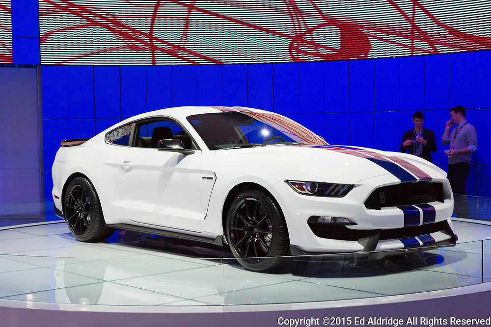 DETROIT, MI, USA - JANUARY 12, 2015: Ford Shelby GT 350 on display during the 2015 Detroit International Auto Show at the COBO Center in downtown Detroit.