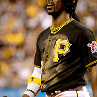 Pittsburgh Pirates center fielder Andrew McCutchen (22) reacts to a strike call in the eight inning of the Milwaukee Brewers 1-0 win over the Pittsburgh Pirates at PNC Park in Pittsburgh, on September 20, 2014.  UPI/Archie Carpenter