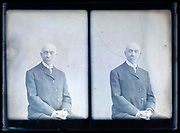 deteriorating two exposure glass plate with portrait in studio setting France ca 1920s