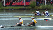 """Lucerne; SWITZERLAND; Men's Pair final. Gold. AUS1. Bow. Matthew LONG and; James TOMKINS. FRA M2- Bow Michel ANDRIEUX and; Jean-Christophe ROLLAND. 2000 FISA World Cup; Rotsee Rowing Course; June 2000.; """"Mandatory Credit, Peter Spurrier/Intersport-images""""; . 2000 FISA World Cup, Lucerne, SWITZERLAND"""