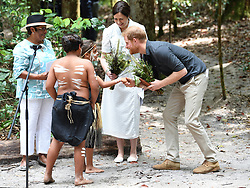 Prince Harry Duke of Sussex meets the Butchulla people and the Premiere of Queensland and unveils a plaque for the dedication of the Forests of K'gari to the Queens Commonwealth Canopy, Pine Valley, Fraser Island, Australia . Photo credit should read: Doug Peters/EMPICS