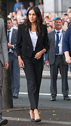 The Duchess of Sussex views the Famine Memorial, on the second day of her visit to Dublin, Ireland.