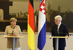 22.08.2011., Zagreb -  German Chancellor Angela Merkel is arriving to Croatia. Although Croatia and Germany have very friendly political relations, this is only the second formal visit of a German Chancellor to Croatia.Press conference of Croatian President Ivo Josipovic and  Chancellor Angela Merkel.                                                                                                 Foto ©  nph / Galoic       ****** out of GER / CRO  / BEL ******