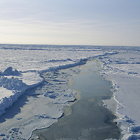 INTL.ARCTIC PROJECT, View of ice & open leads at the North Pole