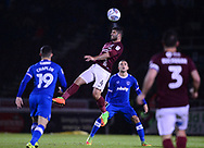 Yaser Kasim of Northampton Town © goes up for a header. EFL Skybet Football League one match, Northampton Town v Portsmouth at the Sixfields Stadium in Northampton on Tuesday 12th September 2017. <br /> pic by Bradley Collyer, Andrew Orchard sports photography.