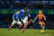 Portsmouth Forward, Brett Pitman (8) shoots with a back heal during the EFL Sky Bet League 1 match between Portsmouth and Northampton Town at Fratton Park, Portsmouth, England on 30 December 2017. Photo by Adam Rivers.