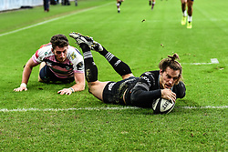 Ospreys' Jeff Hassler scores his sides first try<br /> <br /> Photographer Craig Thomas/Replay Images<br /> <br /> Guinness PRO14 Round 13 - Ospreys v Cardiff Blues - Saturday 6th January 2018 - Liberty Stadium - Swansea<br /> <br /> World Copyright © Replay Images . All rights reserved. info@replayimages.co.uk - http://replayimages.co.uk