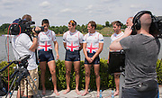 Poznan. Poland. GBR M4X, left to right, Peter LAMBERT, Sam TOWNSEND, Jack BEAUMONT and Graeme THOMAS. Finals day at the FISA 2015 European Rowing Championships. Venue Lake Malta. 31.05.2015. [Mandatory Credit: Peter Spurrier/Intersport-images]
