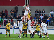 England flanker Will Evans collects a line out throw during the World Rugby U20 Championship  match England U20 -V- Australia U20 at The AJ Bell Stadium, Salford, Greater Manchester, England on June  15  2016, (Steve Flynn/Image of Sport)