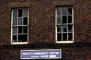 The once busy Rialto Community Centre in Liverpool, England, is now a shell of a building, its windows smashed and caretaker's name painted over as if erased from those employed here to give the local population a sense of belonging. No-one is left here, the impoverished people having moved out for a better life elsewhere.