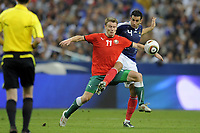 FOOTBALL - UEFA EURO 2012 - QUALIFYING - GROUP D - FRANCE v BELARUS - 3/09/2010 - PHOTO JEAN MARIE HERVIO / DPPI - VITALY RODIONOV (BIE) / ADIL RAMI (FRA)
