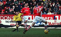 Photo: Olly Greenwood.<br />Charlton Athletic v Aston Villa. The Barclays Premiership. 25/02/2006. <br />Aston Villa's James Millner goes close with a shot at goal.