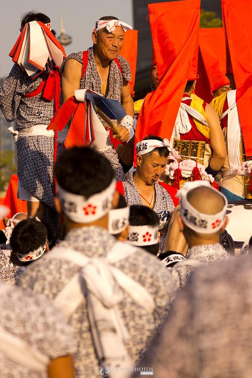 Men in the Tenjin Festival (Tenjin Matsuri) in Osaka.