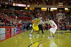 05 December 2009: Held outside the 3 point line by Alex Rubin, Robbie Harman contemplates his next move. The Chippewas of Central Michigan are defeated by the Redbirds of Illinois State 75-62 on Doug Collins Court inside Redbird Arena in Normal Illinois.
