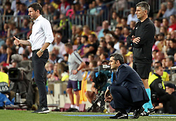September 18, 2018 - Barcelona, Spain - Mark van Bommel and Ernesto Valverde during the match between FC Barcelona and PSV Eindhoven, corresponding to the week 1 of the group stage of the UEFA Champions Leage, played at the Camp Nou Stadium, on 18th September, 2018, in Barcelona, Spain. (Credit Image: © Urbanandsport/NurPhoto/ZUMA Press)
