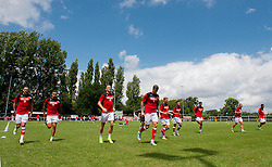 Bristol City players warm up ahead of their Preseason community match against Brislington FC and Keynsham Town - Photo mandatory by-line: Dougie Allward/JMP - Mobile: 07966 386802 - 05/07/2015 - SPORT - Football - Bristol - Brislington Stadium - Pre-Season Friendly