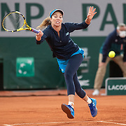 PARIS, FRANCE October 06. Danielle Collins of the United States in action against Ons Jabeur of Tunisia in the fourth round of the singles competition on Court Philippe-Chatrier during the French Open Tennis Tournament at Roland Garros on October 6th 2020 in Paris, France. (Photo by Tim Clayton/Corbis via Getty Images)