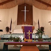 Carter Tabernacle CME Church holds an Easter service on Sunday, April 12, 2020 in Orlando, Florida. The church invited parishioners to drive up and stay in their cars or to watch via internet streaming due to the Coronavirus (Covid-19) outbreak and social distancing rules. (Alex Menendez via AP)