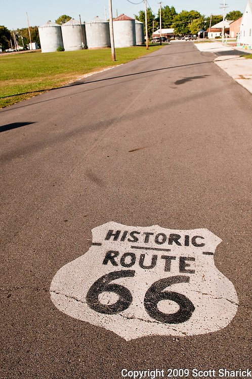 Route 66 sign painted on Illinois road. Missoula Photographer