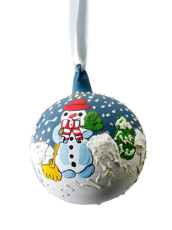 Artisan hand made Christman bauble tree decoration with a snowman design, cut out