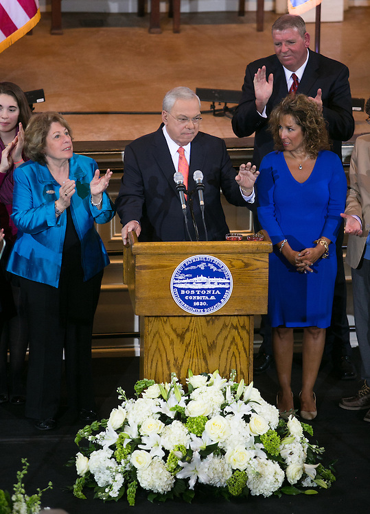 Boston, MA 03/28/2013<br /> Boston Mayor Thomas M. Menino announces that he will not seek re-election at Faneuil Hall on Thursday afternoon.