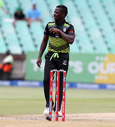 Ayabulela Gqamane of the Warriors during the T20 Challenge cricket match between the Lions and the Warriors at the Kingsmead stadium in Durban, KwaZulu Natal, South Africa on the 4th December 2016<br /> <br /> Photo by:   Steve Haag / Real Time Images