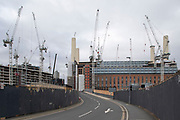 Redevelopment of Battersea Power Station and its surroundings on 4th February 2020 in London, England, United Kingdom. Battersea Power Station is a decommissioned coal-fired power station located on the south bank of the River Thames, in Nine Elms, Battersea, an inner-city district of South West London. Now a well advanced construction site and under development, the site will become both residential and commercial.