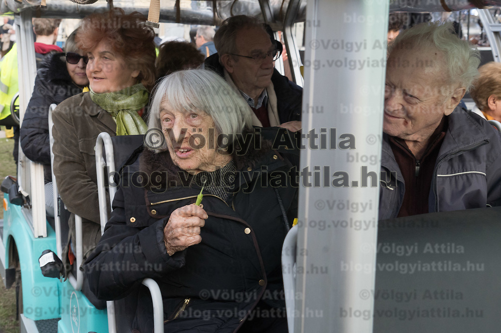 Agnes Keleti (3rd L) five times Hungarian Olympic champion  gymnast and Holocaust survivor herself joins other Holocaust survivors to lead thousands participating the March of the Living commemorating the events of the Holocaust in downtown Budapest, Hungary on April 14, 2019. ATTILA VOLGYI