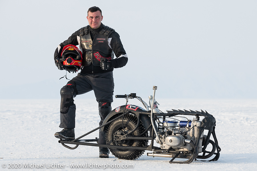 Team Uralgon's Gorynich with his unimotocycle at the Baikal Mile Ice Speed Festival. Maksimiha, Siberia, Russia. Saturday, February 29, 2020. Photography ©2020 Michael Lichter.