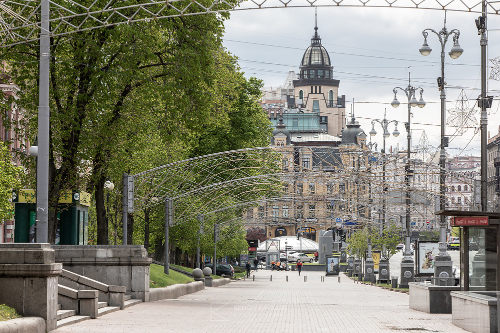 Kreschatyk street in the most busy street in Kyiv. During Covid lockdown it stays empty even in the middle of the day during weekend.