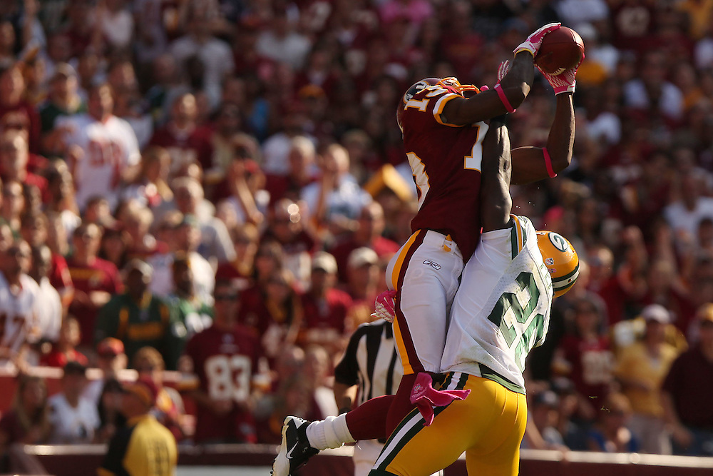 Landover, Md., Oct. 10, 2010 - Redskins vs. Packers - #13 Anthony Armstrong makes a TD catch.  (Photo by Jay Westcott/TBD)