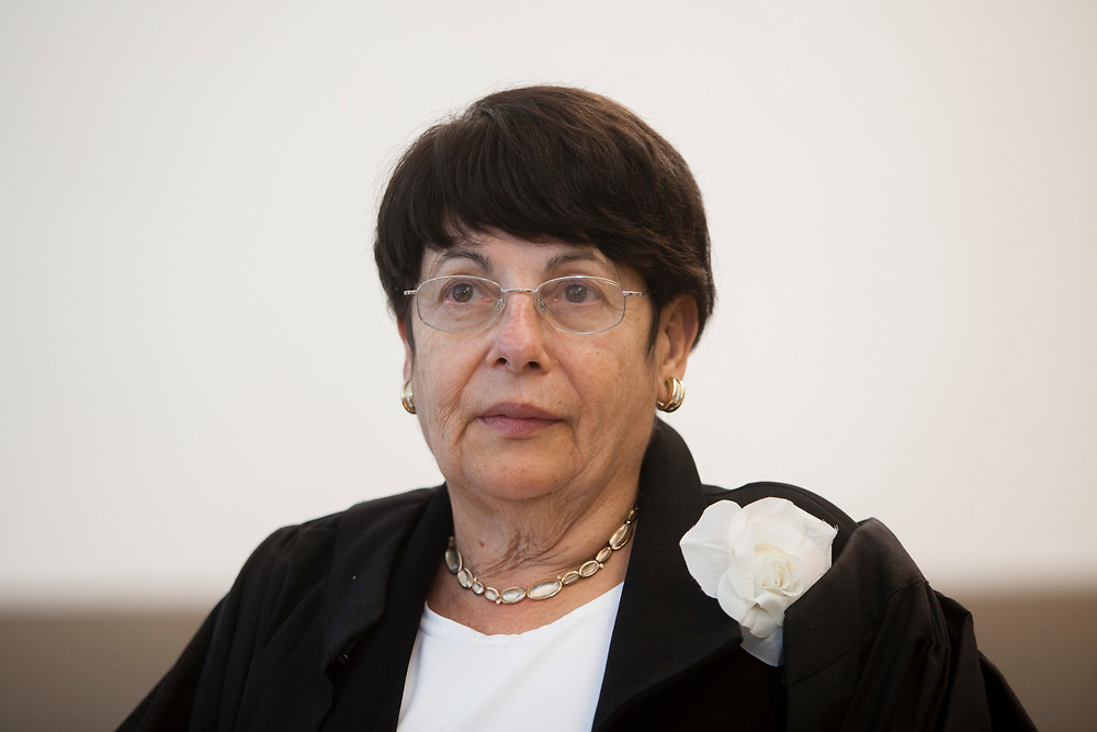 Incoming Deputy-President of the Supreme Court of Israel, Justice Miriam Naor is seen during the swearing in ceremony of new judges at the Israeli Supreme Court in Jerusalem, on May 31, 2012.
