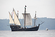 The Nina, a replica of the ship sailed by Christopher Columbus sails into Commencement Bay for the Tall Ships Festival in Tacoma, WA  Thursday, July 3, 2008. (Photo/John Froschauer).
